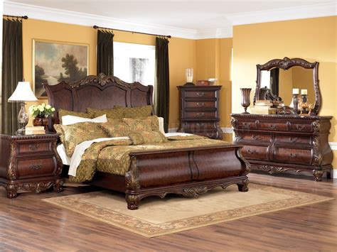 classic bedroom set warm brown finish 6pc classic bedroom set w optional armoire