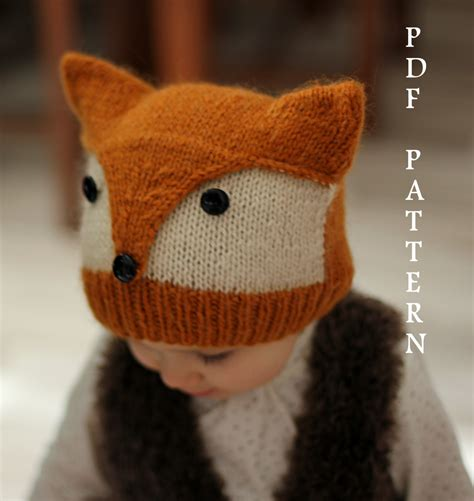 fox knit hat knitting pattern foxy wolfie toddler child by