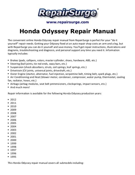 small engine repair manuals free download 1990 mercedes benz s class on board diagnostic system honda odyssey repair manual 1995 2012