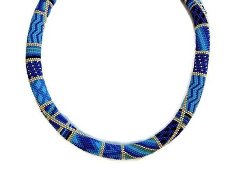 seed bead rope necklace blue beaded crochet rope necklace seed jewelry