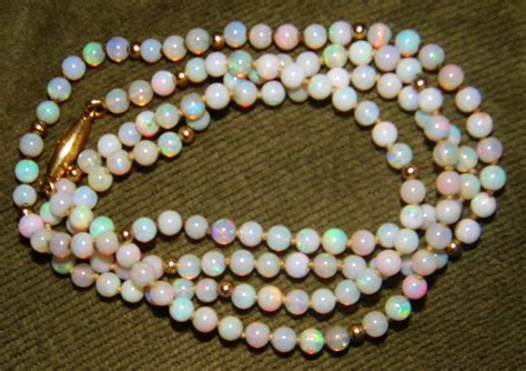 opal bead necklace vintage deco opal bead 750 18k necklace 23