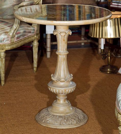 decoupage wood table bleached carved wood table with eglomise decoupage top at