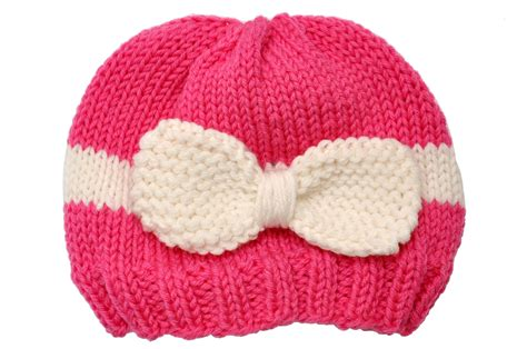baby knitted hats havesome bow knitted baby hat white pink