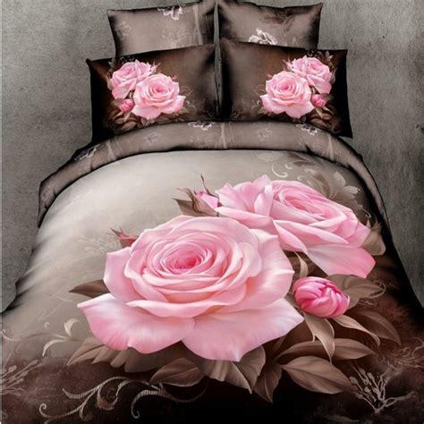 pink and brown comforter set pink 3d bedding sets size 4pcs brown