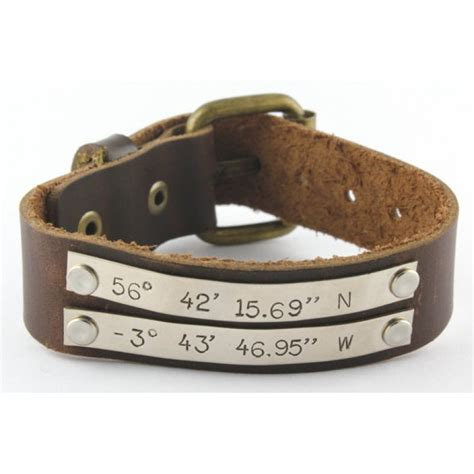 custom leather bracelets personalized sted jewelry personalized brown leather coordinates buckle bracelet
