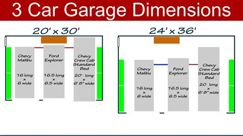 typical garage size ideal 3 car garage dimensions