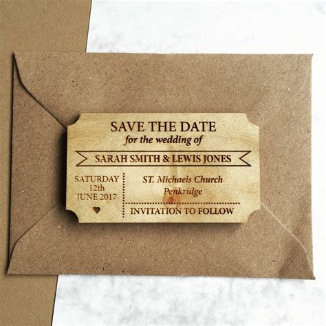 save the date simple ticket wooden save the date magnet by