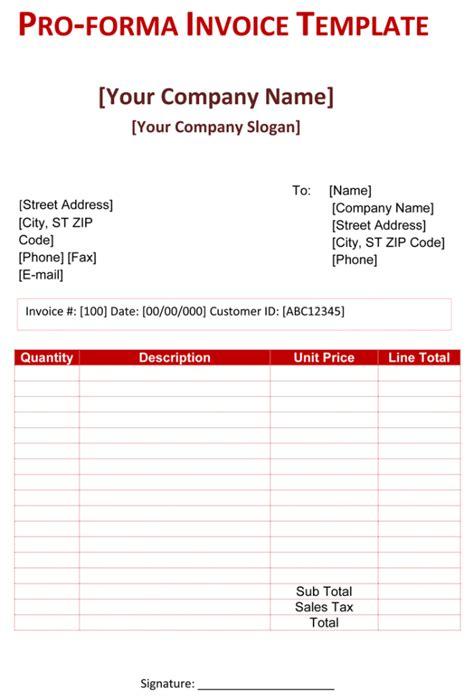 pro forma invoice template 5 free pro forma invoices