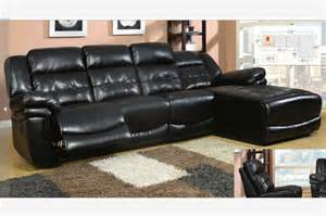 black leather reclining sectional sofa recliner chaise adjustable back contemporary