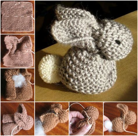 easy rabbit knitting pattern knitted bunny made from a single square the whoot