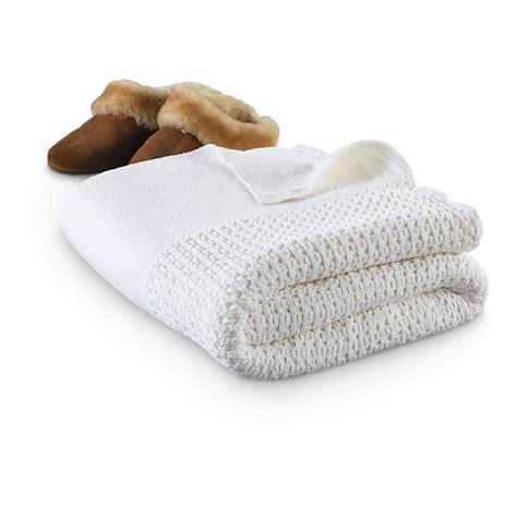 New Swedish Cotton Knit Blanket White 211164 Blankets
