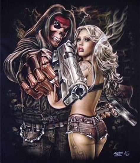 skull gangster magnum revolver gun pin up tattoo