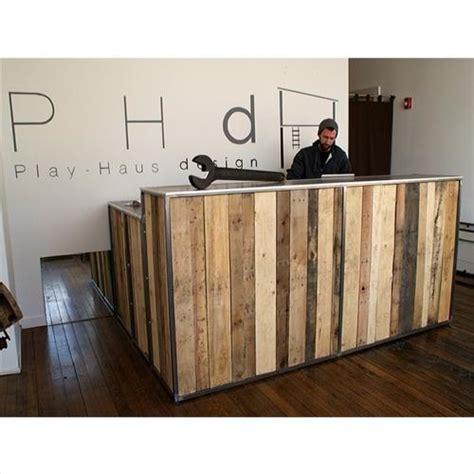 wooden reception desk 13 amazing wood pallet reception desk pallets designs