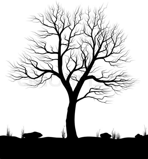 black and white tree landscape with tree and grass white background