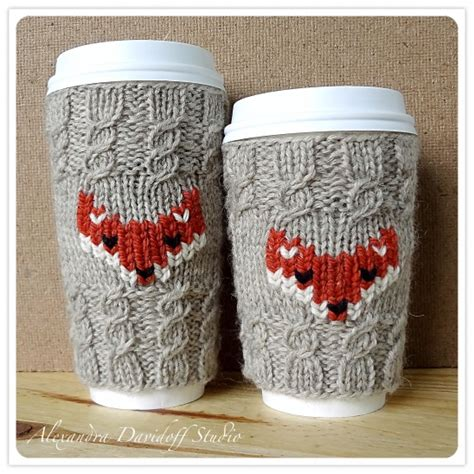 knitted mug hugs free pattern fox cozy venti grande knitting pattern supply