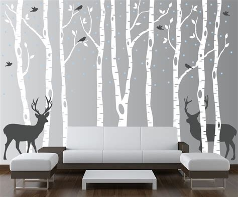 forest nursery wall decals birch tree wall decal forest with birds and deer vinyl
