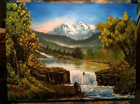 bob ross landscape paintings flowing falls 24x18 bob ross style landscape painting