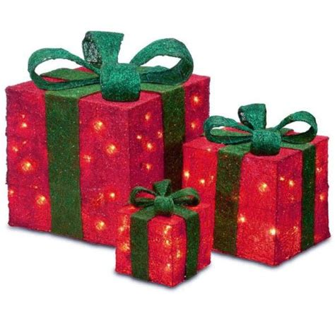 lighted gift boxes set of 3 sparkling sisal gift boxes lighted
