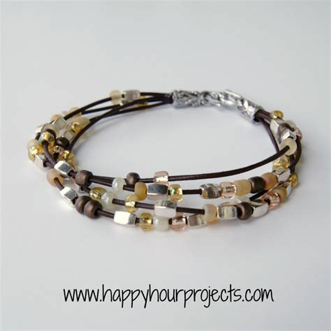 Bead Leather Bracelet Happy Hour Projects
