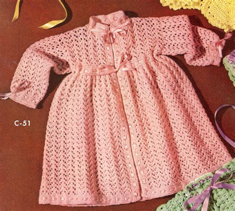 knitted dress patterns vintage baby dress kimono robe knitting pattern sz 2 3 ebay