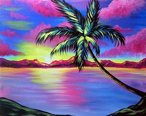 paint nite island pictures paint nite tropic skies palm tree