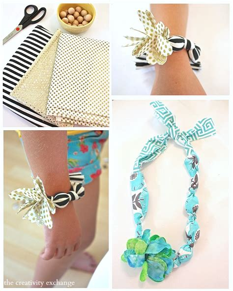 fabric crafts jewelry diy fabric necklaces and bracelets kid s craft