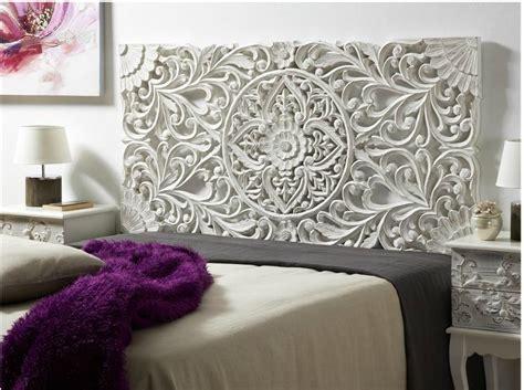 cabeceros de cama blanco cabecero tallado en madera decapada color blanco