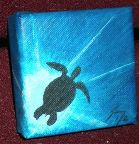 small acrylic painting ideas sea turtle silhouette small original painting by