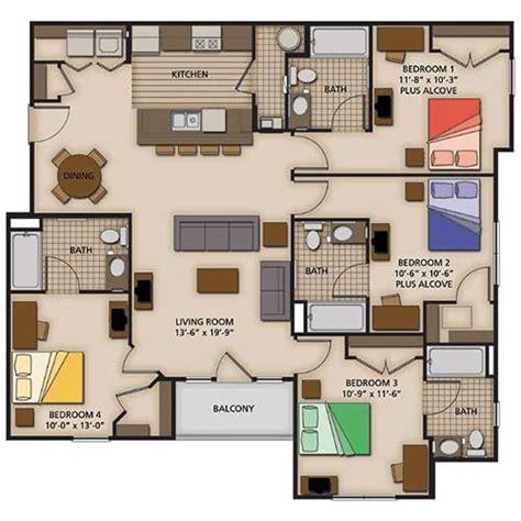 4 bedroom flat floor plan 2 3 and 4 bedroom apartment floor plans capstone quarters