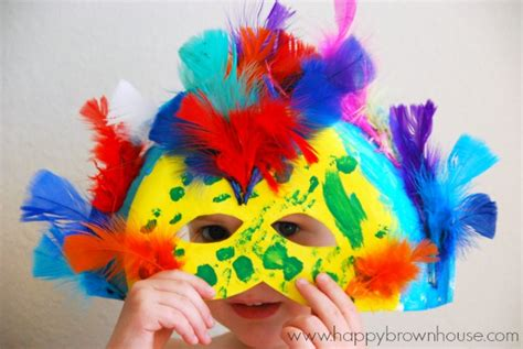 carnival crafts for to make paper plate carnival masks happy brown house