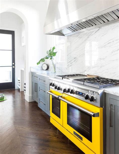 yellow and gray kitchen gray kitchen cabinets with yellow stove contemporary