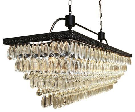 glass chandelier drops weston rectangular glass drop chandelier black