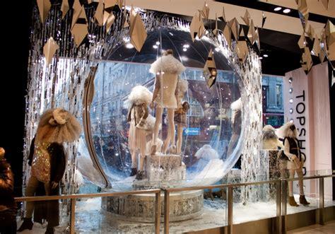 snow display topshop window display globes snowglobe