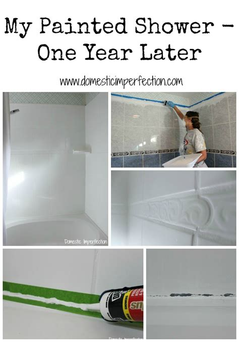 spray painting bathroom tiles my painted shower one year later domestic imperfection