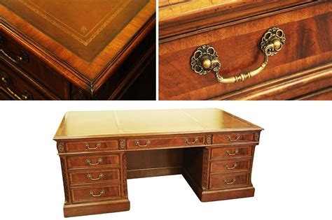 office desk leather top high end antique replica mahogany leather top executive desk