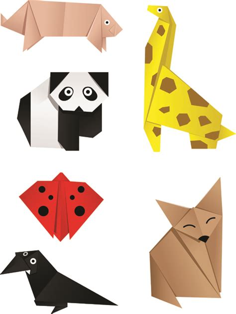 animal origami for various origami animals design vector material 03 vector