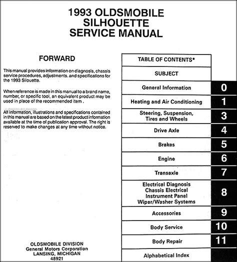 service manual 1993 oldsmobile silhouette owners repair manual service manual 1993