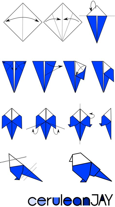 origami bird tutorial ceruleanjay origami blue tutorial