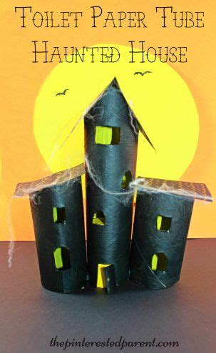 haunted house craft for paper towel roll and toilet paper haunted house craft