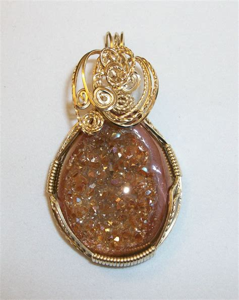 how to make druzy jewelry brown druzy pendant wrapped by joan madouse