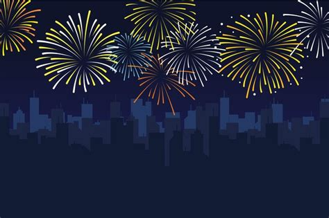new year fireworks background city poster template new