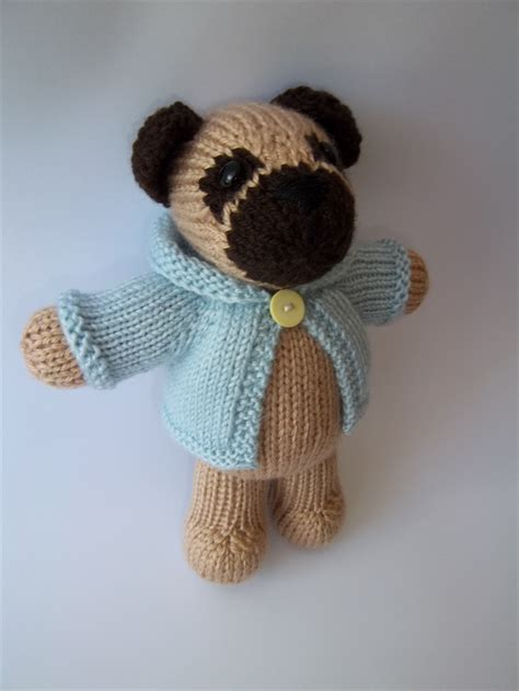 knitted pug harry knitted pug blue coat anorak amigurumi