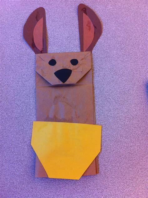 kangaroo craft for kangaroo paper bag puppet school project ideas
