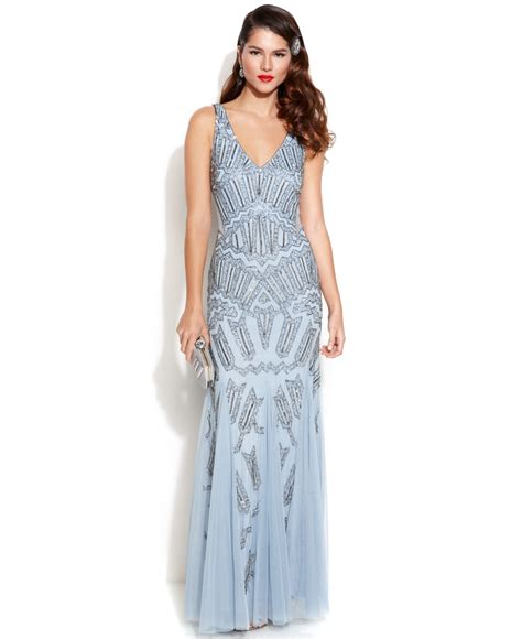 Papell Sleeveless Beaded Mermaid Gown In Blue Lyst