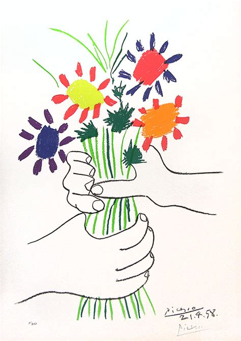 picasso paintings holding flowers pablo picasso bouquet of peace 1958 color lithograph