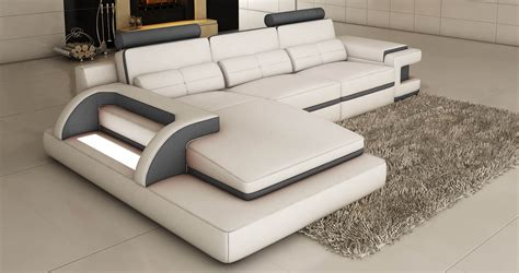 deco in canape d angle cuir blanc et gris design avec lumiere ibiza ibiza blanc gris