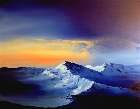 acrylic painting mountains snowy mountain peaks at carlos printe journal