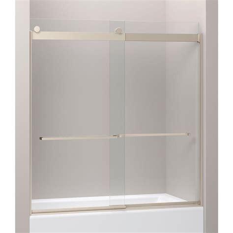 kohler sliding shower doors kohler levity 28 1 8 in x 62 in frameless sliding shower