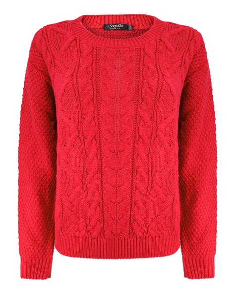 knit sweater womens knitted crew neck sleeve cable knit