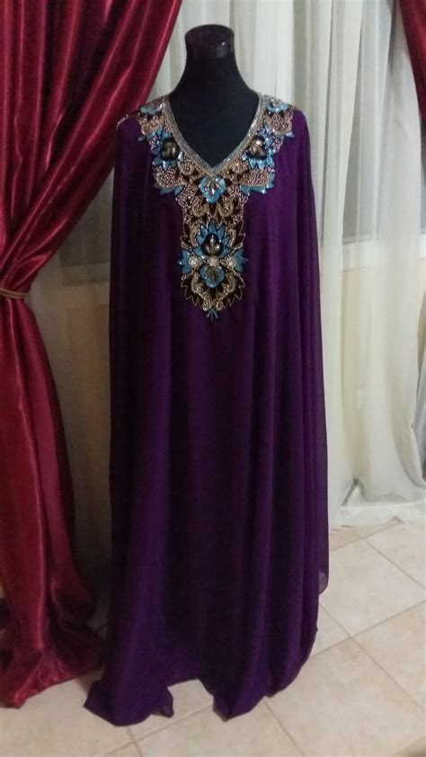 beaded kaftan dress purple beaded chiffon kaftan dress gown one size by lebes
